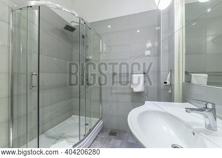 Modern Interior Of Clean Bathroom With Shower