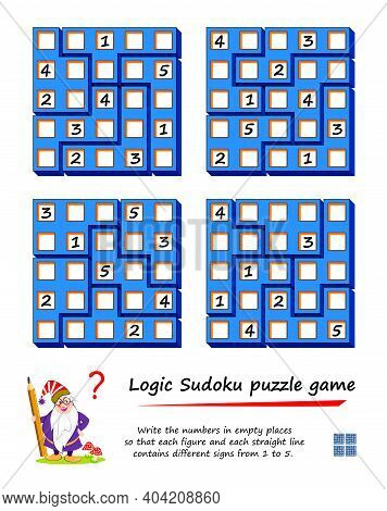 Logic Sudoku Puzzle Game For Children. Write The Numbers In Empty Places So That Each Figure And Eac