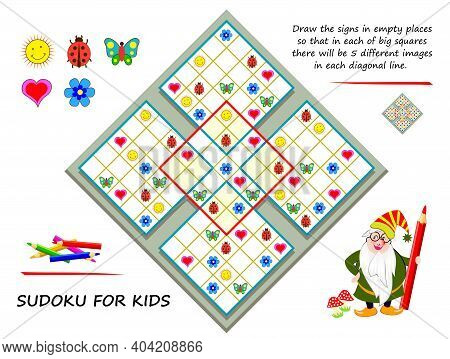 Logic Sudoku Puzzle Game. Draw The Signs In Empty Places So That In Each Of Big Squares There Will B