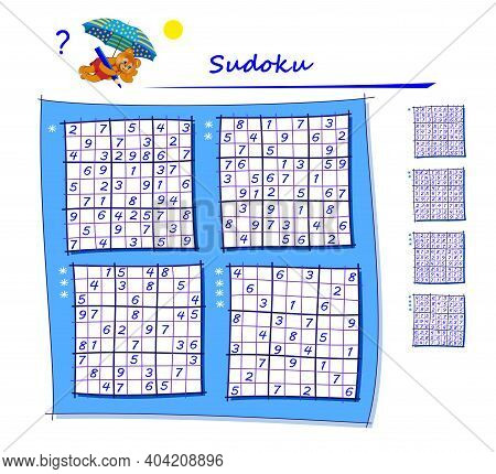 Set Of Sudoku Puzzles. Different Levels. Logic Game For Children And Adults. Play Online. Memory Tra