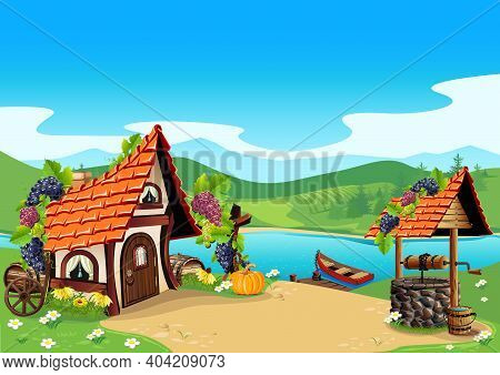 Fairy Tale House In A Village By The River With A Well, A Pier And A Boat. Beautiful Fairy Tale Back