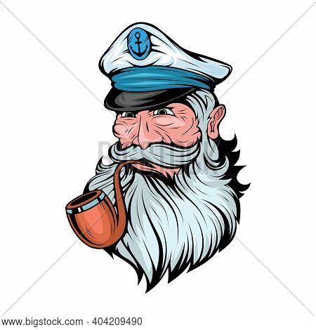 Bearded Ship Captain. Sailor Head. Sea Dog. Sailor Portrait. Captain With A Pipe. Smoking Sailor. Se