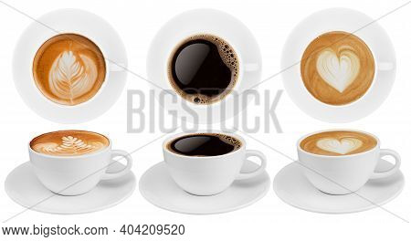 Top View And Side View Coffee Cup Collection, Coffee Cup Assortment With Shape Sign Collection Isola