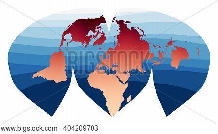 World Map Vector. Alan K. Philbrick's Interrupted Sinu-mollweide Projection. World In Red Orange Gra