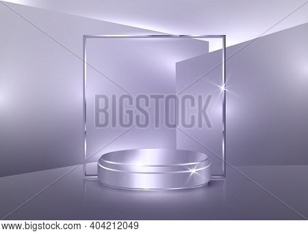 3d Platform Studio Minimal Scene With Silver Platform, Soft Purple Background Vector 3d Luxury Podiu