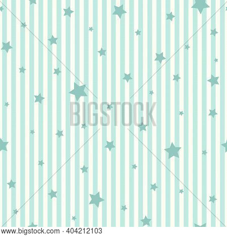 Seamless Pattern With Stars On Striped Turquoise Background. Shabby Vector Illustration. Cosmos Text