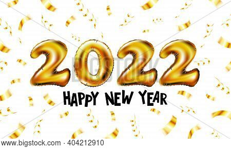 Happy New Year 2022. Background Realistic Golden Balloons. Decorative Design Elements. Object Render