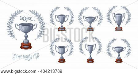 Silver Trophy Cups With Laurel Wreaths. Trophy Award Cups Set With Different Shapes - 2nd Place Winn