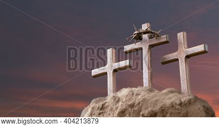 He Is Risen. Wood Cross On Sunset Sky Background With Copy Space For Inscription. Jesus Christ Resur