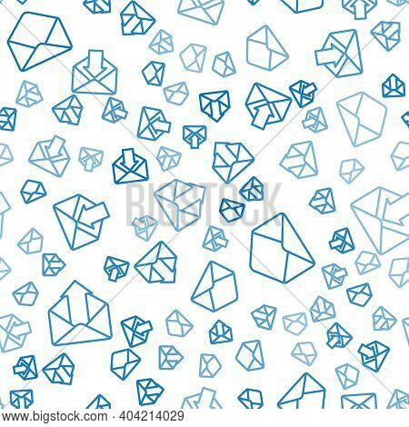 Set Line Outgoing Mail, Envelope And Envelope On Seamless Pattern. Vector
