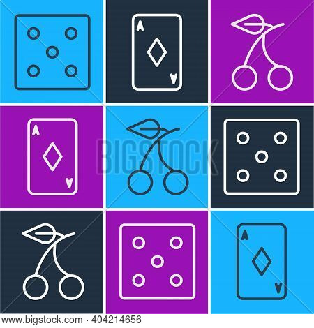 Set Line Game Dice, Casino Slot Machine With Cherry And Playing Card With Diamonds Icon. Vector