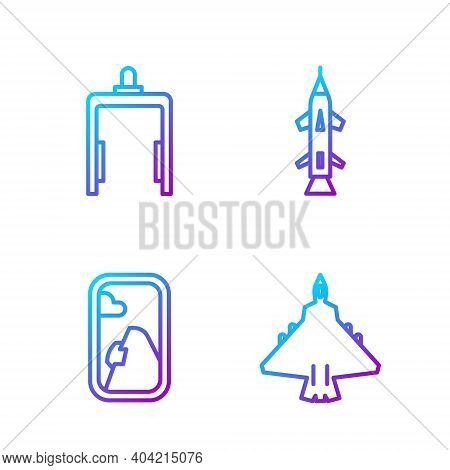 Set Line Jet Fighter, Airplane Window, Metal Detector In Airport And Rocket. Gradient Color Icons. V