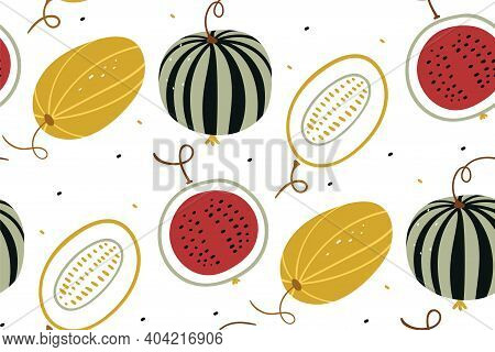 Watermelon And Melon In A Flat Style. Summer Fruits Isolated On White Background. Vector Watermelon