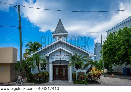 Grand Cayman, Cayman Islands, July 2020, View Of The Peace Chapel In George Town