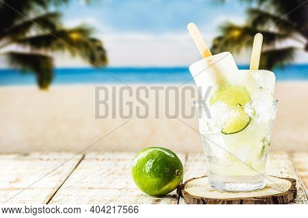 Lemon And Cachaça Popsicle, Drink From Brazil Called Caipirinha Served With Alcoholic Drink Ice Crea
