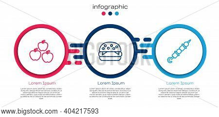 Set Line Apple, Burger And Grilled Shish Kebab. Business Infographic Template. Vector