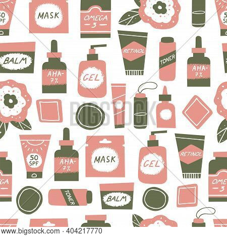 Acne Skin Concept. Skincare And Cosmetics Seamless Pattern. Water, Omega-3, Retinoids, Serum, Cleans