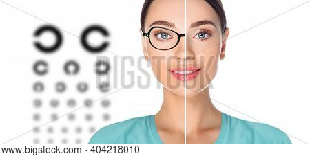 Female Face, Cut In Half To Present Before And After Laser Vision Correction. Woman Face With Glasse