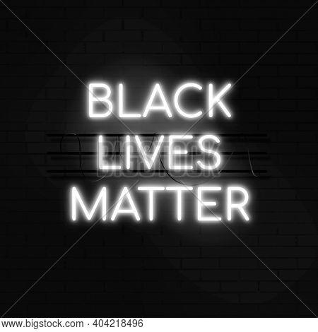 Black Lives Matter white neon glow social media post