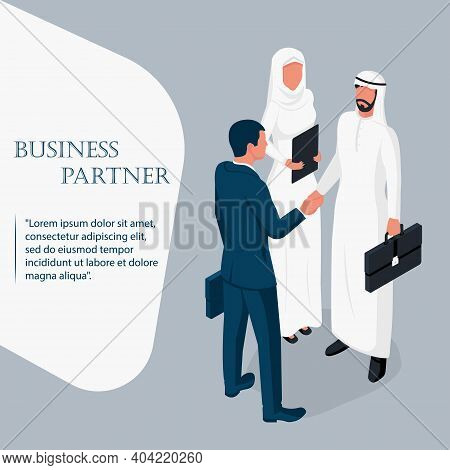 Arab Businessman With A Secretary At A Business Meeting. Handshake Of Two Businessmen. Landing Page