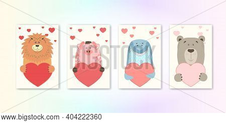 Cute Cartoon Animal Holds A Heart Sign With Copy Space. Set Valentine's Day Greeting Card Banner Inv