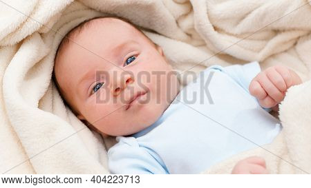 Closeup Portrait Of Cute Adorable Newborn Baby Covered In Big Soft Blanket. Beautiful Little Babies