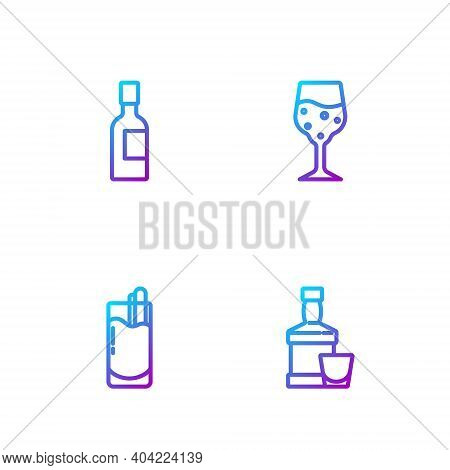 Set Line Whiskey Bottle And Glass, Cocktail Bloody Mary, Champagne And Glass Of Champagne. Gradient