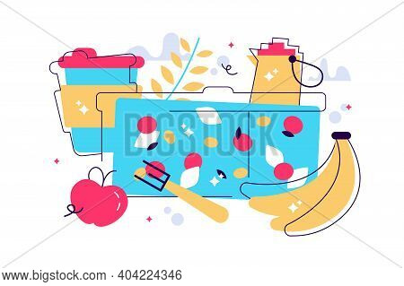 Colorful Zero Waste Lunch Vector Flat Illustration. Eco Friendly Durable