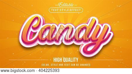Editable Text Style Effect - Candy Text Style Theme. Graphic Design Element.