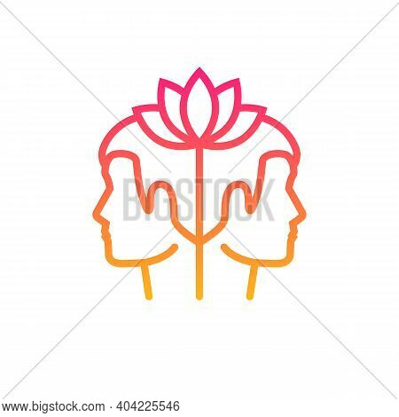 Peace Of Mind Concept. Lotus Plant In The Head As A Symbol Of Calmness And Peace. Vector Illustratio