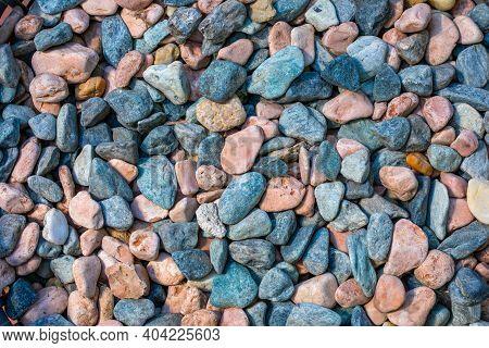 Multicolored Colorful Sea Pebbles, Natural Background, Texture. Close-up Texture Of Colorful Sea Peb