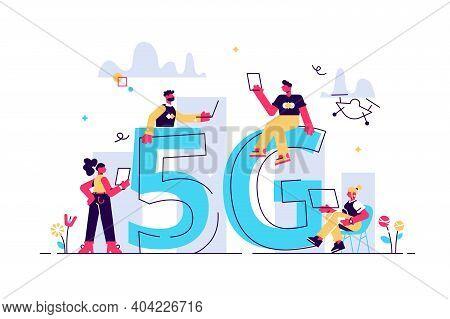 Modern People Use Wireless High Speed Internet Vector