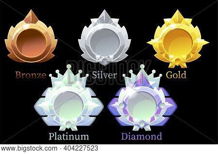 Vector Awards Medals Gold, Silver, Bronze, Platinum And Diamond.