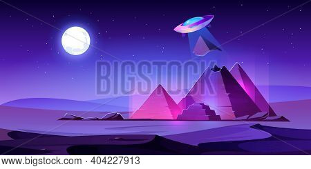 Ufo Steal Egypt Pyramids Top In Night Desert, Alien Saucer Pull Piece Of Egyptian Pharaoh Tomb In Li