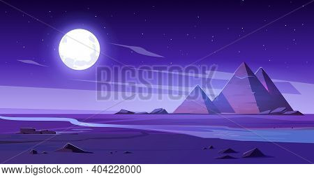 Egyptian Desert With River And Pyramids At Night. Vector Cartoon Illustration Of Landscape With Sand