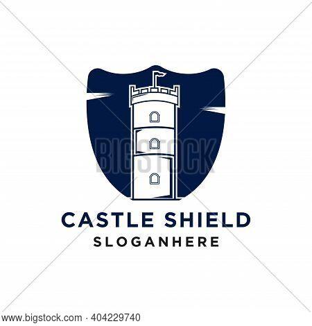 Castle Fortress Kingdom Shield Vector Logo Design