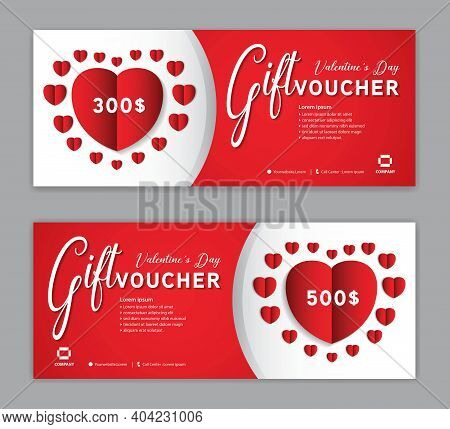 Gift Voucher Template For Happy Valentine's Day, Valentines Day Coupon, Sale Banner, Certificate, Di