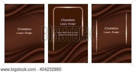 Chocolate Background With Silk Wavy Decor. Dark Brown Chocolate Wave With Realistic Satin Texture An
