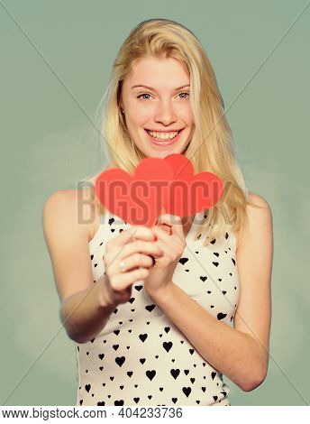 Love And Romance. Woman Cheerful Girl Hold Heart Valentines Decoration. Happy Valentines Day. Valent