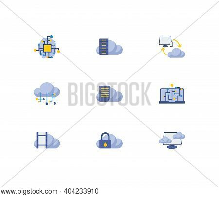Cloud Service Icons Set. Machine Learning And Cloud Service Icons With Cloud Security, Cloud Connect