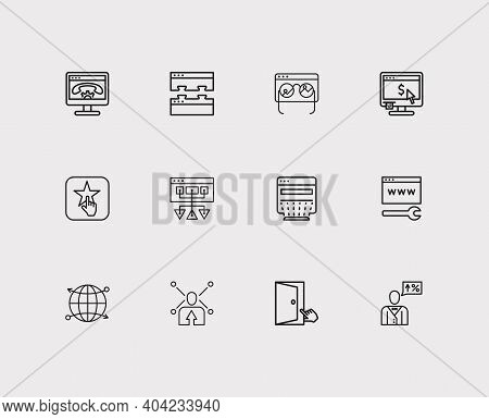 Search Icons Set. Web Development And Search Icons With Accessibility, Customer Review And Sitemap.