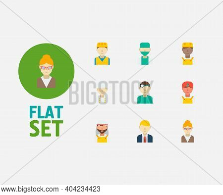 Professional Icons Set. Arab Worker And Professional Icons With Indian Worker, Construction Worker A