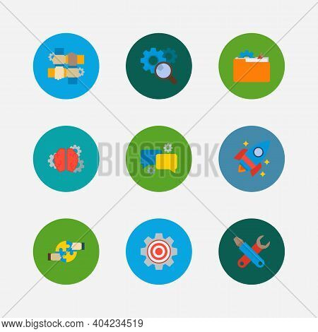 Partnership Icons Set. Cooperation And Partnership Icons With Technical Development, Target And Star