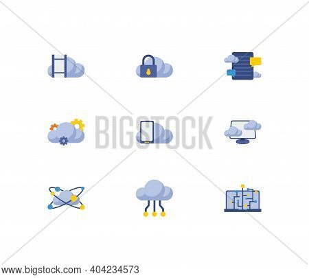 Cloud Service Icons Set. Machine Learning And Cloud Service Icons With Virtual Machine, Video Storag