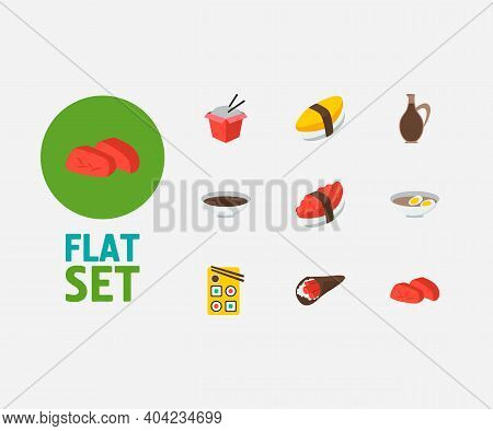 Nutrition Icons Set. Sashimi And Nutrition Icons With Fast Food, Soy And Egg Soup. Set Of Liquid For