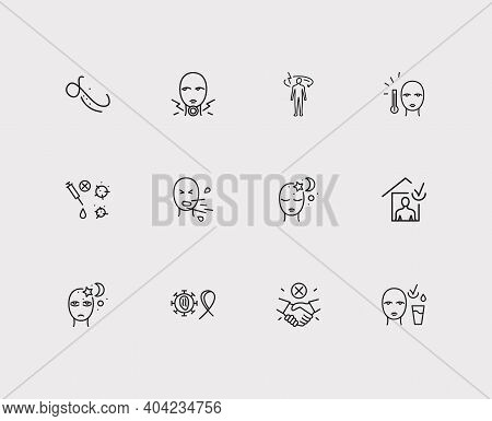 Diseases Icons Set. Fever And Diseases Icons With Sore Throat, Sleep And Incoordination. Set Of Prev