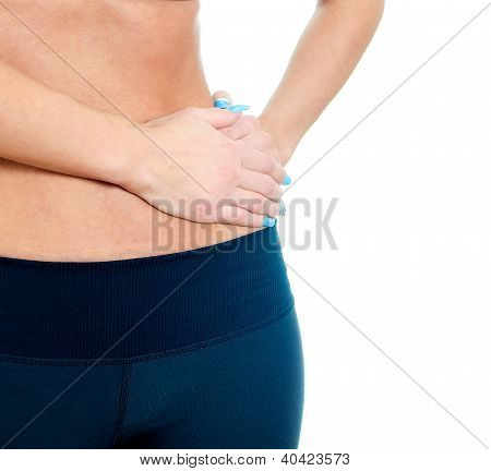 Woman suffering from pain in left side. Isolated on white poster