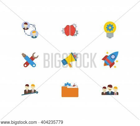 Partnership Icons Set. Teamwork And Partnership Icons With Technical Project, Startup And Marketing.