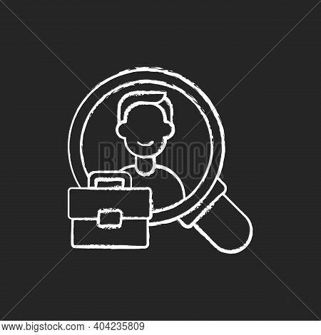 Human Resource Chalk White Icon On Black Background. Organization Workforce. Hr. Recruiting And Trai