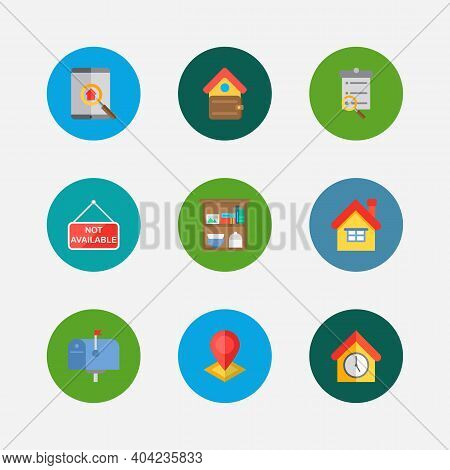Building Icons Set. Home And Building Icons With Search Listing, Leased And Finances. Set Of Magnifi